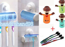 5Set Plastic Toothbrush Spinbrush Wall Holder Suction Stand Bathroom+4Toothbrush