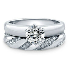 BERRICLE Sterling Silver 1.105 Carat Round CZ Solitaire Engagement Ring Set