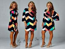 PLUS SIZE PINK BLACK CHEVRON WRAP BOHO 3/4 SLEEVE SKIRT MINI DRESS 1X 2X 3X