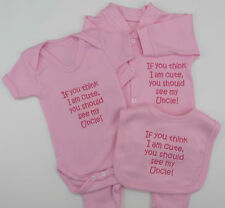 Think I Am Cute See My Uncle Baby Gift Set Grow / Vest /  Boy Girl Funny Gift