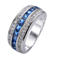 Women's Blue Sapphire CZ Wedding Ring 10KT White Gold Filled Jewelry SIze 6-10