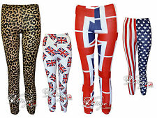 Girls Kids Printed Leggings Union Jack Leopard USA Flag Print Legging 7-13 Years