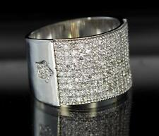 Classy Silver Tone Iced Out Wide Celeb Bling Hip Hop Mens CZ Rapper Exotic Ring