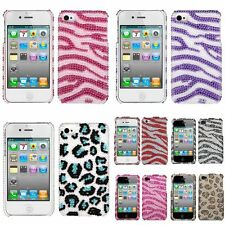 Zebra Leopard Bling Diamond Sparkle Glitter Hard Cover Case For iPhone 4th 4S 4