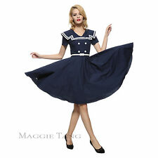 Maggie Tang 50s 60s VTG Pinup Nautical Sailor Rockabilly Swing Party Dress R-580