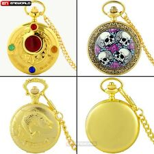 Steampunk Gold Antique Pocket Watch Gift Quartz Necklace Chain Pendant Retro UK
