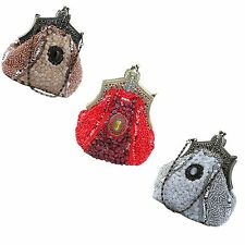 Women Lady Vintage Victorian Brooch Beaded Clutch Purse Evening Bags Purse