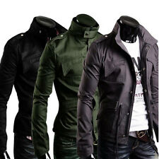 Men's Military Slim Fit Jacket Designed Rider Zip Button Trench Coat 6 SIZE Hot