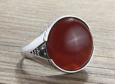 925 K Sterling Silver Mens Ring with Natural Red Agate and Black Onyx Gemstone