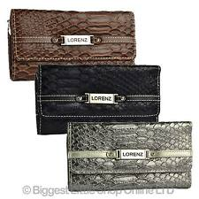 NEW Ladies Flap Over Faux LEATHER Croc Style PURSE WALLET by Lorenz Black
