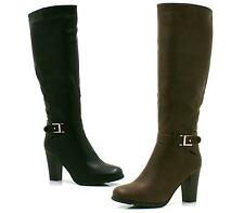 WOMENS LADIES BLACK BROWN LEATHER LOOK HIGH HEEL KNEE HIGH RIDING BOOTS SIZE