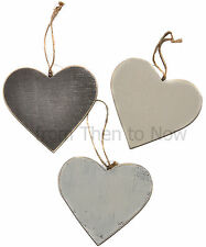 Gisela Graham Wooden 16cm Hanging Heart Chic Shabby Decoration Distressed Rustic