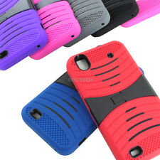 For ZTE Quartz Z797C Color Rugged Stretch Hybrid Case Cover Kickstand Accessory