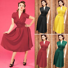 Womens Vintage Style Retro1940s Shirtwaist Flared Evening Tea Dress Swing Skater