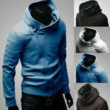 Hot Warm Mens Slim Fit Top Designed Diagonal Zipper Hoodies Jackets Coats M-XXXL
