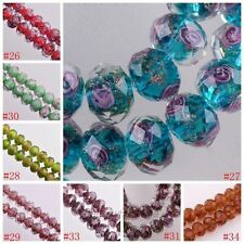 10pcs Faceted Lampwork Glass Charms Rose Flower Finding Loose Bead , 12x8mm