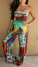 "LEOPARD ANIMAL PRINT ""MADAGASCAR"" STRAPLESS TUBE TOP PALAZZO PANTS JUMPER S M L"