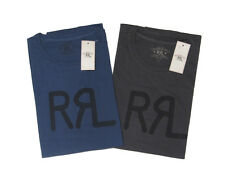 Double Ralph Lauren RRL Mens RRL Logo Vintage Blue Black Slim Crew Neck T-Shirt