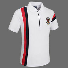 Mens Casual Short Sleeve Y-neck Golf Polo Shirt Quick Dry Wicking Summer Tee Top