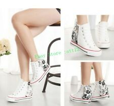 Women's Wedge Heels High Top Lace Up Canvas Platform Sneakers Trainer Shoes