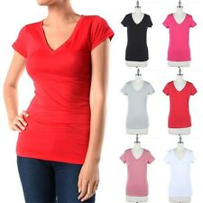 Basic Solid Short Sleeve V Neck T Shirt Top Casual Easy Wear Cotton Poly S M L