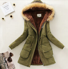 Womens Faux Fur Hooded Parka Thicken Winter Warm Fashion Coat Jacket Outerwear