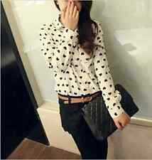 Fashion Sexy Women's Loose Chiffon Heart Tops Long Sleeve Shirt Casual Blouse