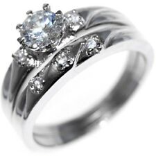 0.95CTW BRILLIANT CUT STONE - WEDDING RINGS SET (2 rings) size 6,7,8,9,10