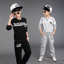 Boys Cotton 92% Two-piece Sports Wear Long Sleeve Round Collar Pullover 4~11Y