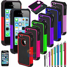 iPhone 4 4S Case Cover Shock Proof Rubber Matte Hard Screen Protector 8 Pcs