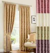 VINTAGE LINBY PENCIL PLEAT LINED CURTAINS ~Green Gold Ivory Mauve Rose ~Damask