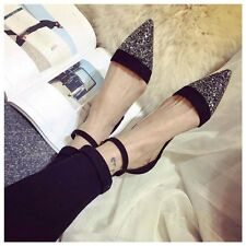 Womens Flat Pointy Toe Pumps Buckle Rhinestone Oxford Roma OL Casual New Shoes