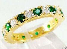 Jewelry Fashion Women's Ring 10KT Yellow Gold Filled Emerald Size:7/8/9 Wedding