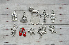 10 pc Silver Wizard of Oz Charm Set Lot Collection / Ruby Slippers,Tinman, Lion