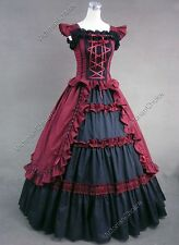 Victorian Gothic Dress Ball Gown Theater Women Halloween Costume Steampunk 085