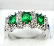 Jewelry nice Woman's Engagement Ring 10KT White Gold Filled Emerald Size:7/8/9