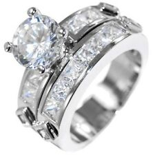 3.85CTW BRILLIANT W/ PRINCESS accent WEDDING RING SET (2 rings) size 5,6,8,9,10