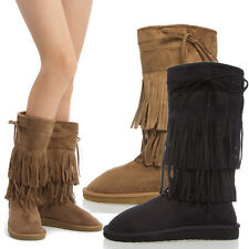 Women Round Toe Fringe Tassel Faux Fur Shearling Mid Calf Knee High Flat Boot US