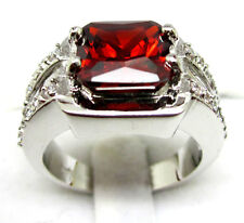 Size:10 11 Jewelry Men's Generous 10KT White Gold Filled Ruby Ring