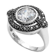 925 Sterling Silver 1.75 Carat CZ with Marcasite Circle Ring Size 6-9