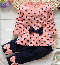 New Autum  Baby Girls Long Sleeve Dot  cute bow Top T-shirt+Pant fit 6M-4Y