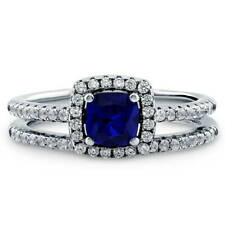 BERRICLE Silver Cushion Simulated Sapphire CZ Halo Engagement Ring Set 0.885 CTW
