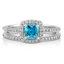 BERRICLE Sterling Silver Cushion Simulated Aquamarine CZ Halo Ring Set