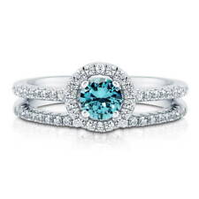 BERRICLE 925 Silver 0.735 Carat Simulated Aquamarine CZ Halo Engagement Ring Set