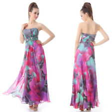 Ever Pretty Rhinestones Ruffles Printed Strapless Long Evening Dress 09203