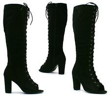 WOMENS LADIES SEXY BLACK SUEDE KNEE HIGH LACE UP PEEPTOE BLOCK HEELS BOOTS SIZE