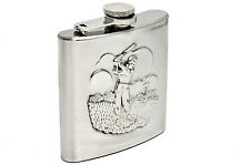 Personalised 6oz Stainless Steel Golf Design Hip Flask with Gift Box, Engraved