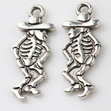 Wholesale 10/20Pcs Tibet Silver Charm Hat Skeleton Pendants Finding DIY 25*10mm