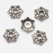 Lots 100/200Pcs Tibetan Silver Carved Flower Shaped Hollow Out Bead Caps DIY 7mm