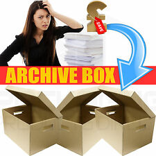 Large Archive Storage Boxes & Lids Strong Cardboard Handles 5 10 20 50 Removal